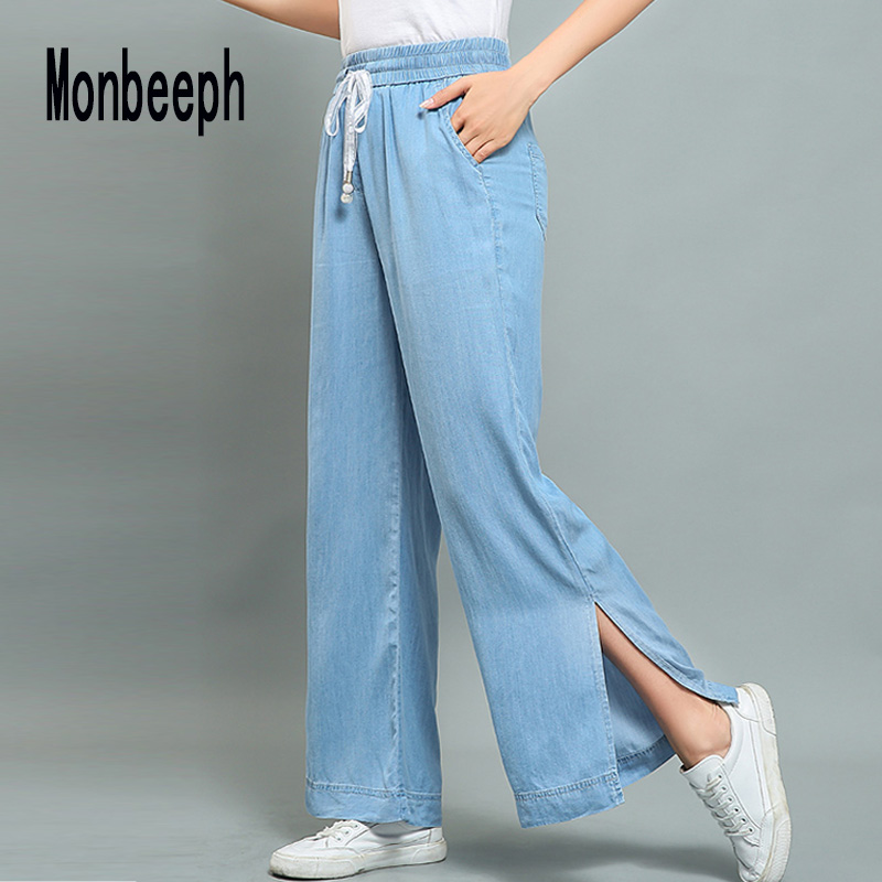 Monbeeph High-Waist Jeans Trousers Leg-Pants Thin Loose Vintage Casual Summer New-Fashion