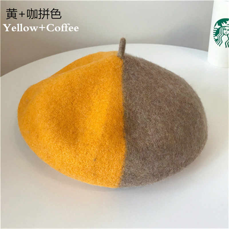 Зимняя теплая Очаровательная прошитая цветная чистая шерсть женский берет французская шапочка шапка для женщин Ретро Дикий модный аксессуар подарки