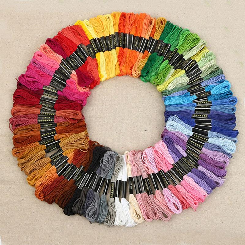 100 pçs multicolorido semelhante dmc thread ponto cruz algodão costura skeins bordado fio fio kit diy ferramentas de costura #