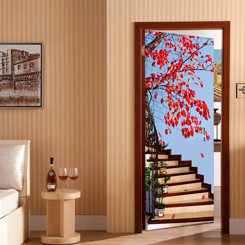 3D Stereo Stairs Red Tree Photo Wallpaper Living Room Study Classic Home Decor Wall Sticker Mural PVC Wallpapers Papel De Parede children room cartoon bedroom door decoration wall sticker pvc mural wallpaper for kids room posters papel de parede home decor