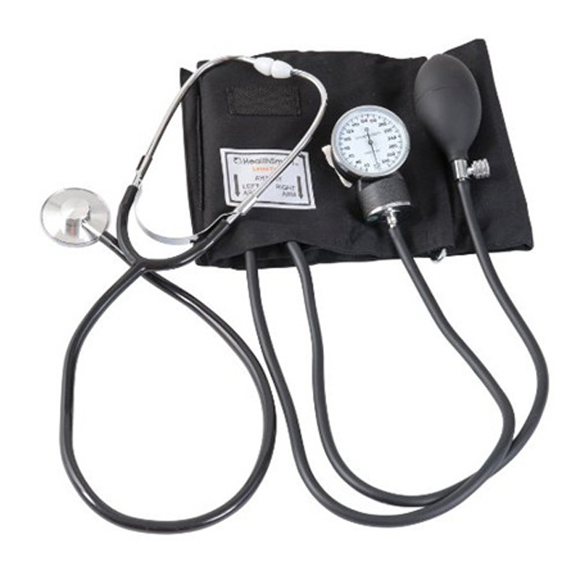 Manual Strap Stethoscope Medical With Blood Pressure Meter Arm Monitor Dual Tube Dual Head Stethoscope 2018 manual blood pressure cardiology stethoscope medical sphygmomanometer arm double head stethoscope health care
