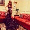 Venta caliente Negro Tulle de La Sirena Vestidos de La Celebridad 2017 Vestidos de Baile V Cuello Apliques Plisado Cap Mangas Vestido De Fiesta