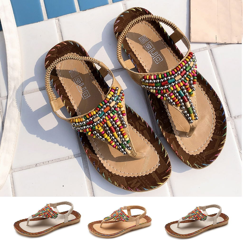 MUQGEW Plus Size Sandals Women Ladies Summer String Bead Flat Ankle Vintage Leather Footwear Casual Beach Shoes Sandals WomenMUQGEW Plus Size Sandals Women Ladies Summer String Bead Flat Ankle Vintage Leather Footwear Casual Beach Shoes Sandals Women