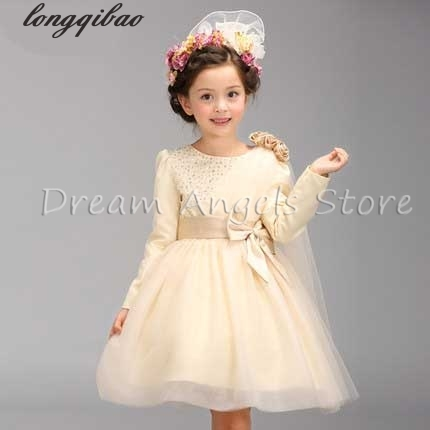 Top quality Kids Girls Birthday Girl Dress Sequin Long sleeves Vest Princess Lace Dress 4 color Baby Dresses For Girls Vestido