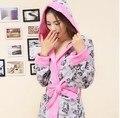 2016 mujeres del invierno moda Coral Fleece cálido con capucha albornoz Homewear ropa de dormir con la correa gato de dibujos animados pijamas para adultos XQ662