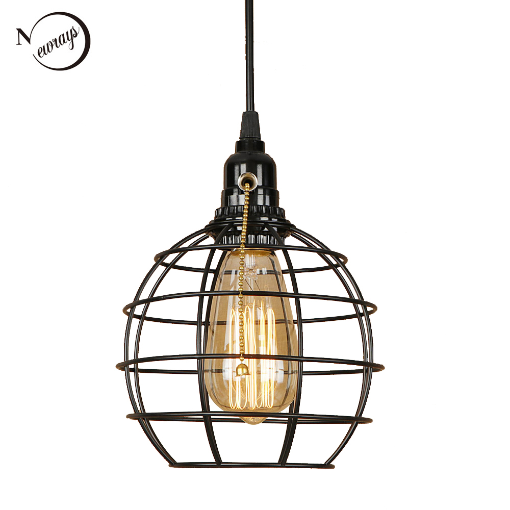 Classical Novelty Black Cage Pendant Light LED E27 Industrial Retro Hanging Lamp With Switch For Living Room Bedroom Aisle Study