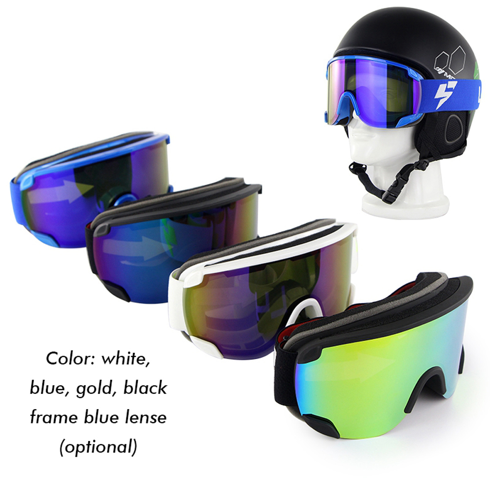 Snowboard Goggles Double Layers Ski Goggles Outdoor Mountaineering Bezel-less Men Women Skiing Glasses Anti-air Anti-fog Goggles