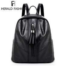 Herald Fashion Women Backpack Quality Leather School Bag For Teenage Girls Causal Lady Pack Bags Female