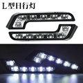 2 Unids/lote Super Brillante 6 Lámpara de Fuente de Luz LED Super Coche Blanco de Conducción de Niebla DC12V DRL Daytime Running Light Universal coche