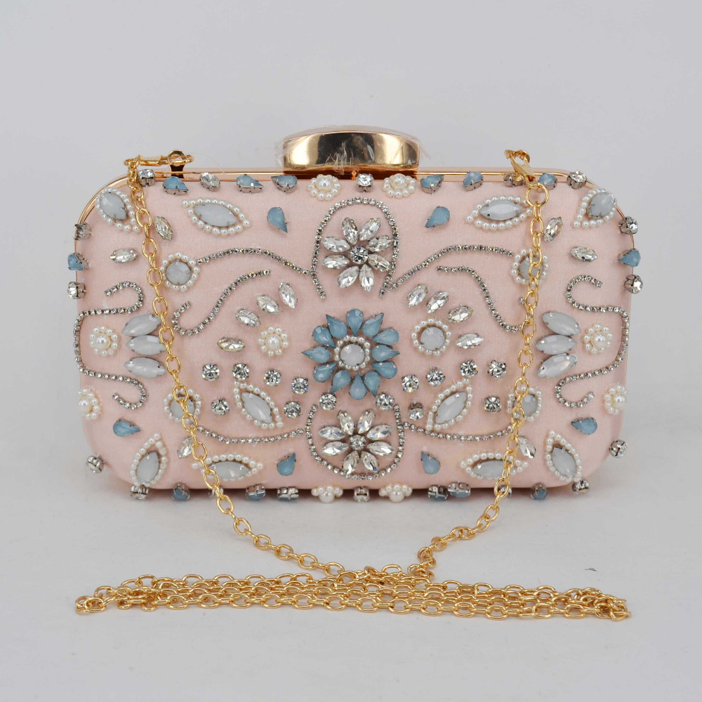 Us 2689 45 Offlight Pink Satin Luxury Crystal Pearl Beaded Clutch Bag Women Chain Evening Bag Cheap Wholesale Wedding Purse Female Handbag Z94 In