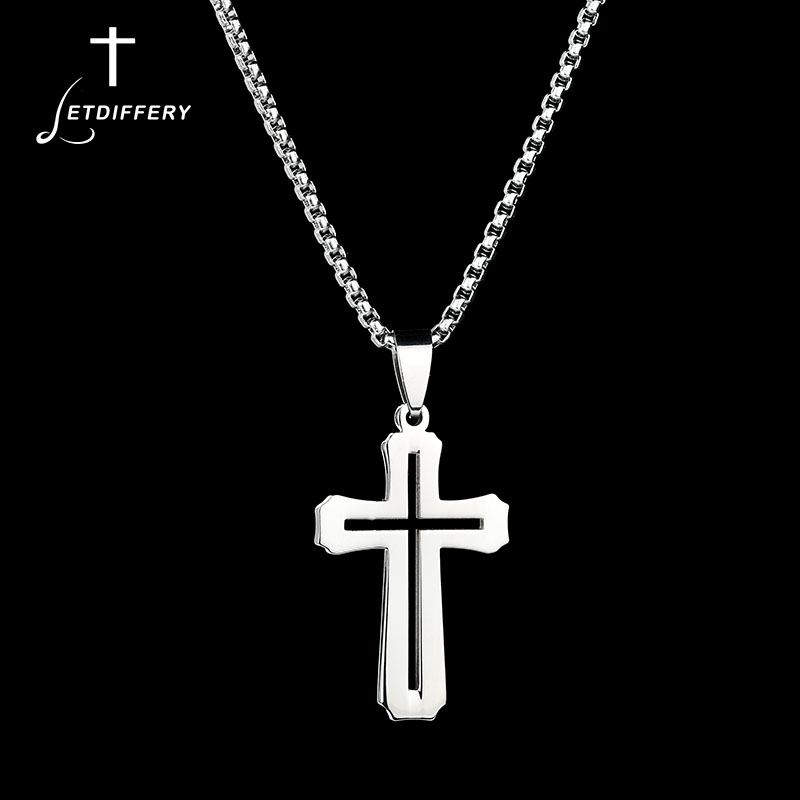 """Simple Stainless Steel Silver Cross Pendant Necklace for Men Women Chain 20/"""""""