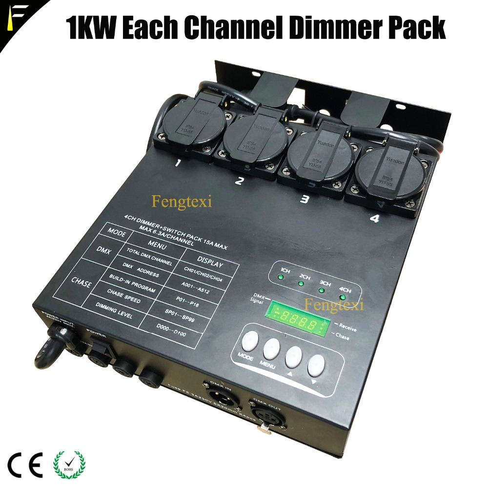 Stage Light Fixtures 4 Channel DMX Dimmer Pack Dimming Controller Adjustable Lighting Speed Dim Or Switch Mode