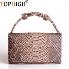 af487f1984ebb TOPHIGH kobiety Messenger torby krokodyla Python wzór patentowe prawdziwej  skóry torebki długo portfel koperta sprzęgłowa torba