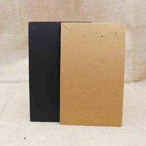 Image 2 - 15,5*9,5 см черное/крафт покрытие, большое ожерелье для костюма с витриной для сережек, карточка для демонстрации, 100 шт. + 100 подходящая сумка
