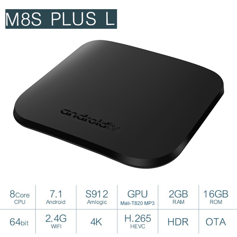 MECOOL M8S PLUS L TV Box Amlogic S912 Android 7.1 2GB RAM 16GB ROM 2.4G WiFi 100Mbps BT4.2 Support 4K H.265 Android TV Box недорого