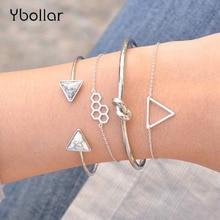 4pcs/Set Retro Triangle Stone Knot Honeycomb Chain Bracelet Bangles Set Women Adjustable Female Charms Jewelry Gift