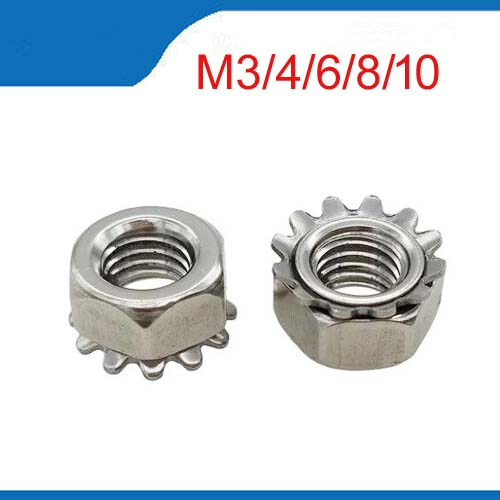 kep M3 M4 M5 M6 M8 M10 Stainless Steel A2 Keps nut Multi tooth K-type gear toothed lock nut, Inch Thread, SUS 304 K nut 10pcs din582 m3 m4 m5 m6 m8 m10 m24 304 stainless steel marine lifting eye nut ring nut thread hw108