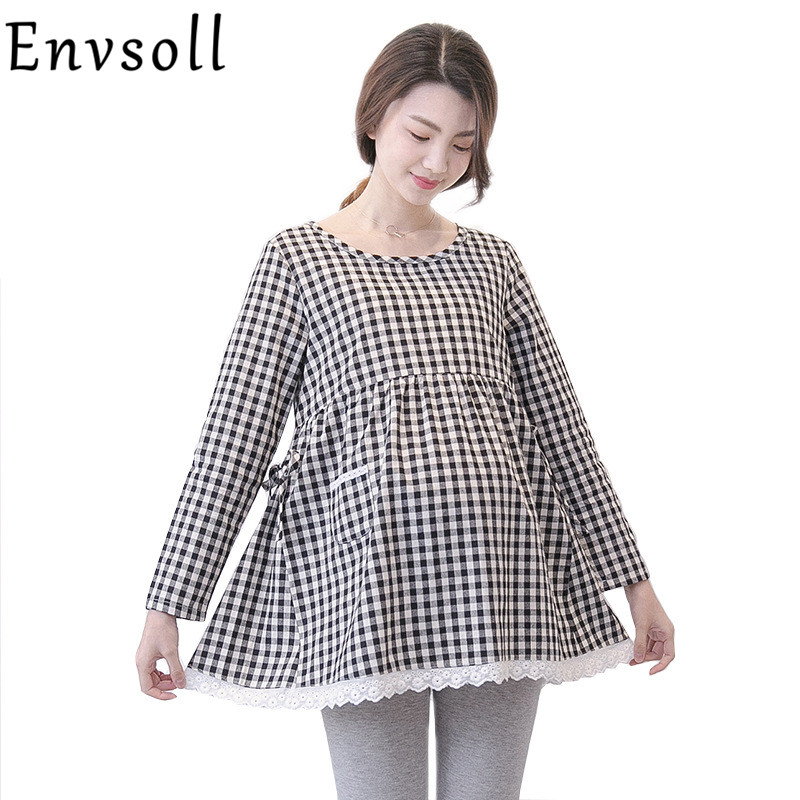 Maternity Breastfeeding Blouse Feeding Tops for Pregnant Women Dress Spring Loose Cotton Plaid Pregnant Clothes Lactation Skirt knitted sweaters sets spring autumn nursing dress breastfeeding maternity clothes for pregnant woman striped lactation feeding
