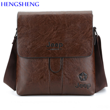 HENGSHENG JEEP PU font b leather b font men shoulder bag with solid cover men font
