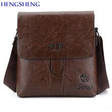HENGSHENG JEEP PU leather men shoulder bag with solid cover men leather messenger bag men shoulder