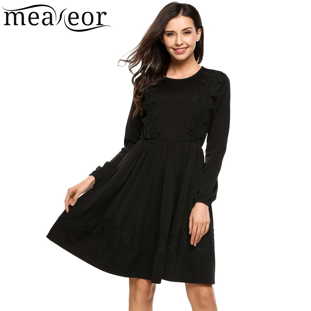 Black dress loose - Meaneor Lace Pleated Loose Dress Women High Waist Solid Dresses With Lining Long Sleeve Casual Basic Autumn Dress Black Vestidos