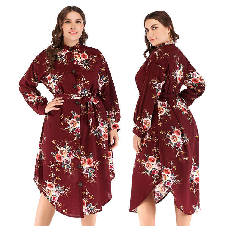 Free shipping 2019 new European and American large size women's wear blockbuster Button Waist print dress in autumn