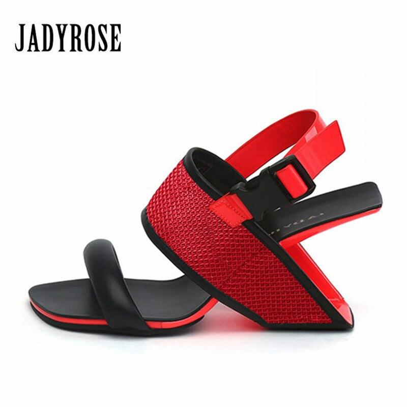 Moda Zapatos Toe Mujer Tacones Gladiador Sandalias Peep Verano blanco Cuña De Negro Negro Rose rojo Zapatillas Red Strange Altos Jady Fretwork Mujeres Bombas 7wxOTtfqnp