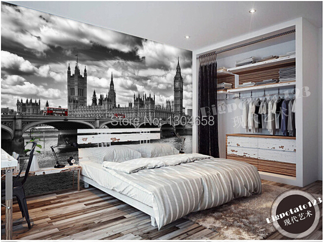 Die Benutzerdefinierte 3D Stereo Tapete, Klassische Schwarz Weiß Serie  Brücke Hängebrücke Wandbild,