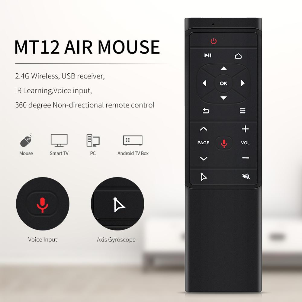 NOVA MT12 controle de Voz Air Mouse 2 4G Sem Fio IR Sensoriamento controle  remoto Universal aprendizagem Controle Remoto Para PC Android caixa de TV
