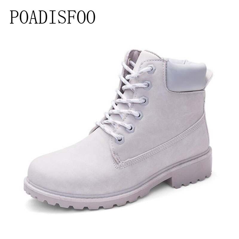 POADISFOO snow 2017 women s Boots Square heel Ankle Boots Lace Up Boots Round Toe Big