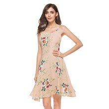 a7bda72c8b6 2018 Women Sexy Spaghetti Strap Floral Print Mini Casual Dress Lolita Style  Sleeveless Backless Slash Neck Dresses Vestidos H8