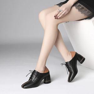Image 5 - ALLBITEFO ขนาดใหญ่ขนาด: 34 42 ของแท้หนังสแควร์ toe รองเท้าส้นสูงรองเท้าผู้หญิงรองเท้าส้นสูงรองเท้าผู้หญิงฤดูใบไม้ผลิรองเท้าส้นสูง