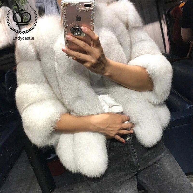 2018 New Women Warm Real Fox Fur Coat Short Jacket Fur Genuine Natural Coat Women Fox Winter Overcoat Winh Real Fur Pelt FC-034