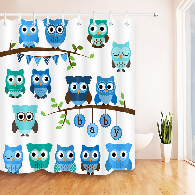 LB 72Cartoon Waterproof Light Blue Owl Bird Print Shower Curtain Bathroom Curtains Fabric