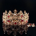 Baroque Style Gold Leaf Red rhinestone Wedding Tiara Crown And Earring Set Alloy Bridal Queen Princess Crown Hair Accessories