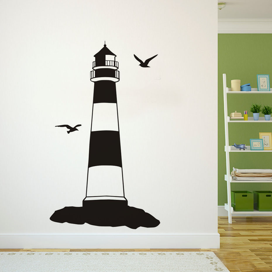 Lighthouse bedroom decor - Two Birds Harbour Tower Lighthouse Wall Sticker Removable Bedroom Decorative Adhesive Muursticker Wall Decal Vinyl Home Decor