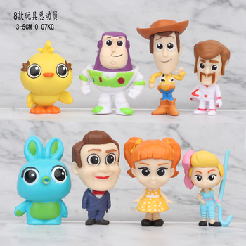 Movie Toy Story 4 Cartoon Toy Woody Buzz Lightyear Jessie forky action figure collectible Doll 8pcs/set 3-5CM цена 2017