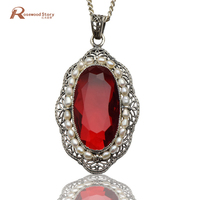 new promotional fashion antique created ruby stone 925 sterling silver jewelry natural pearl women's pendant fine jewelry