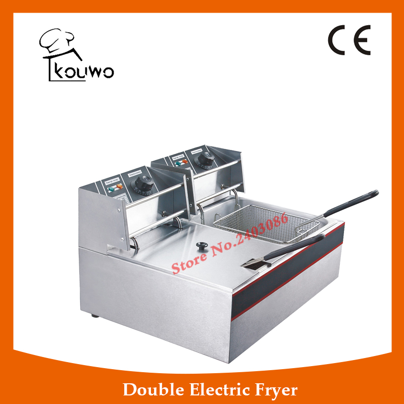 Commercial Chicken Deep Fat Fryer Strianless Steel Durable With CE Certified(KW-ZL2-6) salter air fryer home high capacity multifunction no smoke chicken wings fries machine intelligent electric fryer