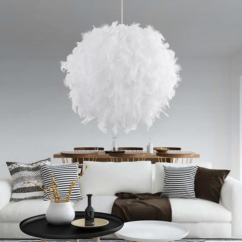 Unique White Feather Chandelier Pendant Lamp for Bedroom Living Room Decor