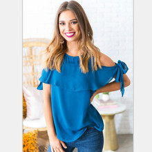 Off Shoulder Tie Sleeve Tops Spring Summer Chiffon Blouse Sexy Ruffle Loose Shirts Women Blouses Plus Size Top Blusas Mujer