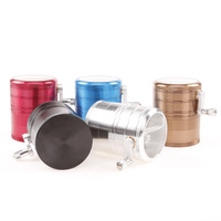4 layer aluminium alloy herb grinder side rolling,The diameter 63MM 4 layer Aluminum Alloy side hand tobacco grinder