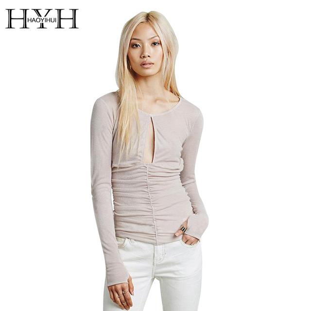 Hyh haoyihui sólida mulheres camisa de manga longa tripulação pescoço cortado plissada tops streetwear ocasional básico camisa fêmea magro
