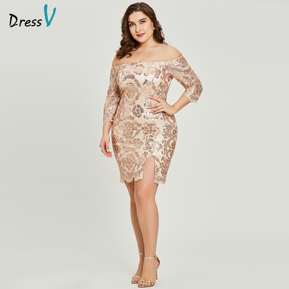 Dressv golden cocktail dress plus size half sleeves off the shoulder graduation party dress elegant fashion cocktail dresses