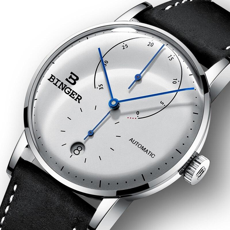 Suisse BINGER Hommes Montres de Marque De Luxe Automatique Mécanique Hommes Montre Sapphire Homme Japon Mouvement reloj hombre B-1187-1