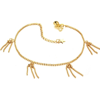 Tassel Anklet 18k Yellow Gold Filled Womens Long Anklet Foot Chain Beads
