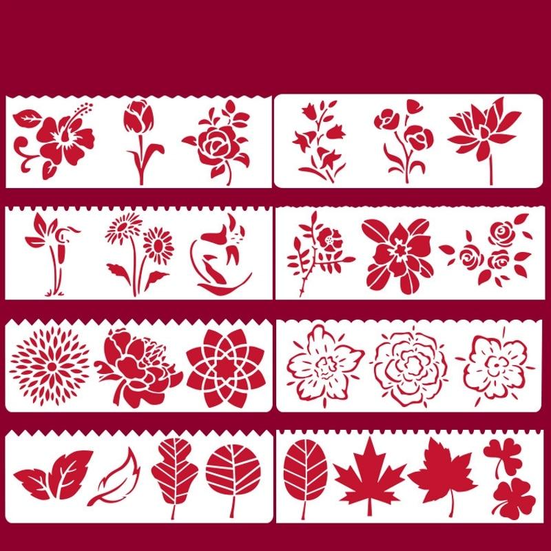8Pcs/Set 17*6cm Flowers Leaves DIY Layering Stencils Wall Painting Scrapbook Coloring Embossing Album Decorative Card Template