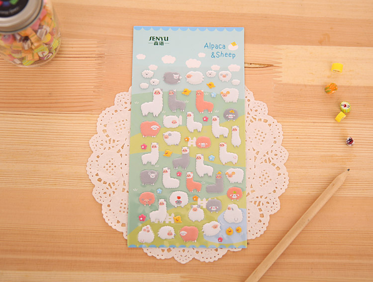 1Sheet Korea Styling Stickers 3D Cartoon Sheep Alpaca PVC Diary Bubble Stickers Notebook Albums Rooms Home Fun Decoration