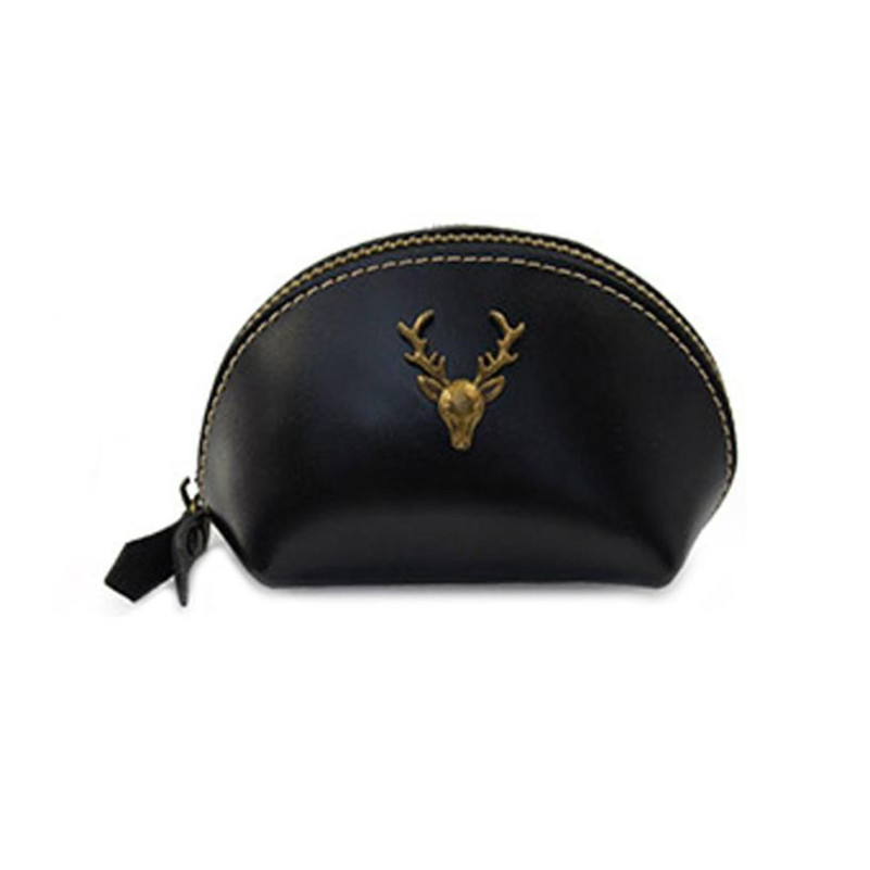 Women Fashion Design Coin Purses Metal Deer Solid Leather Zipper Mini Coin Purse Girl Vintage Change Bag Bozuk Para Kesesi