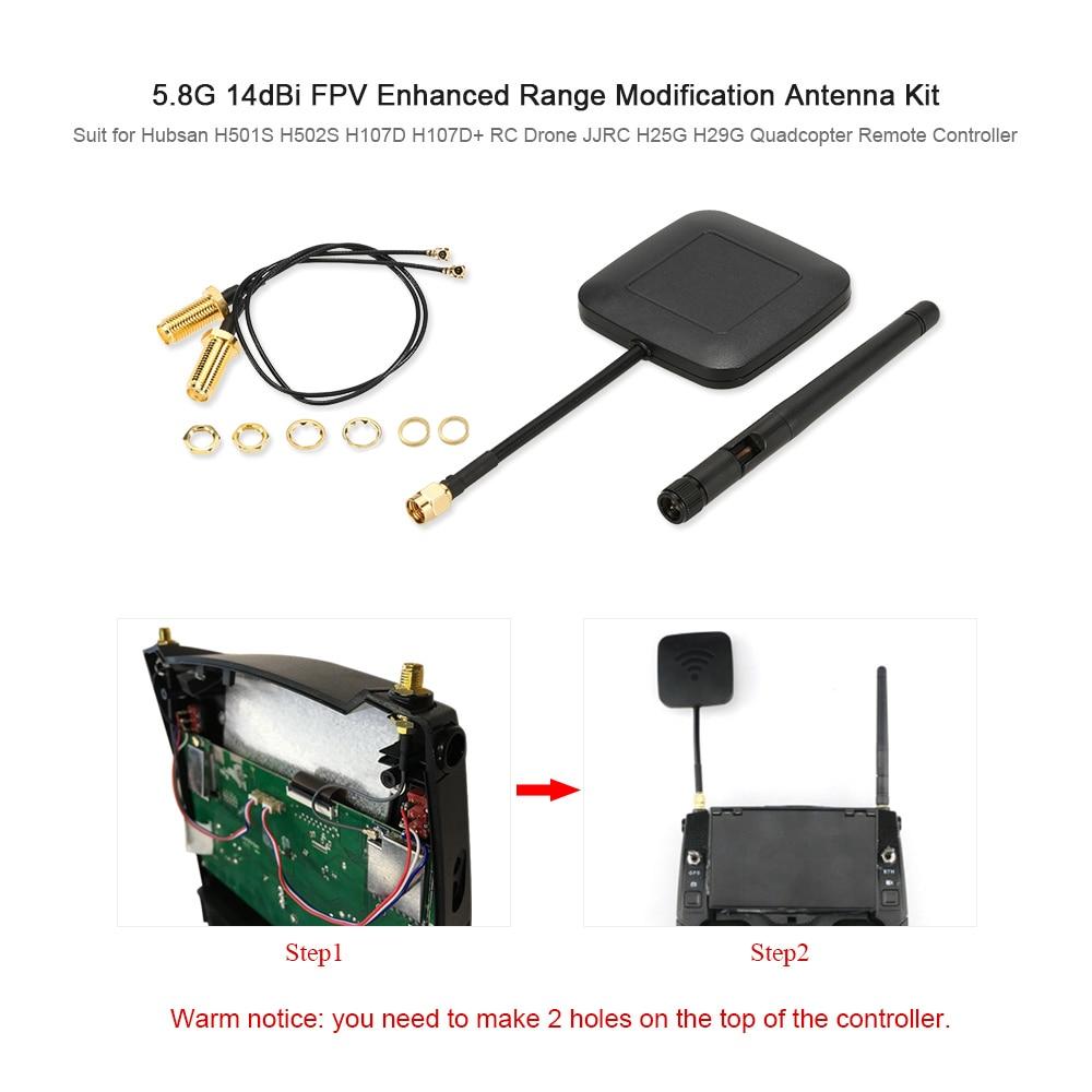 5.8G 14dBi Enhanced Range Modification Antenna Kit for Hubsan H501S H502S H107D H107D+ RC Drone JJRC H25G H29G Quadcopter hot sell leadingstar quadrocopter h501s enhanced fpv frame distance 5 8ghz 14dbi high gain panel antenna 2 4ghz 3dbi antenna kit